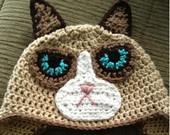 Grumpy Cat Crochet Hat. For some reason I just LOVE grumpy cat, lol!