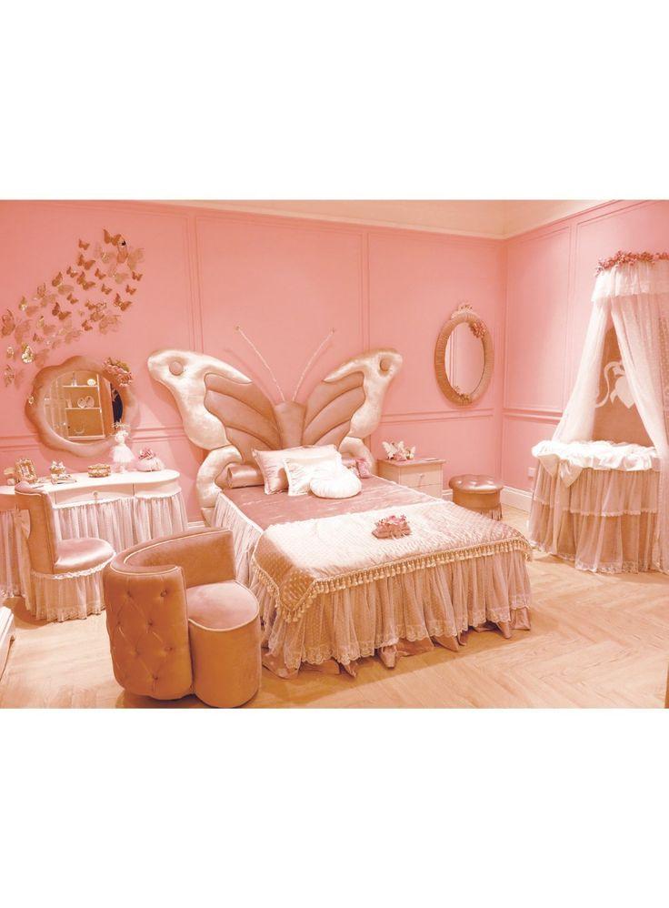 おとぎ話スタイル木製子供ベッド蝶形状ヘッド ボード で トップ品質生地王女の寝室