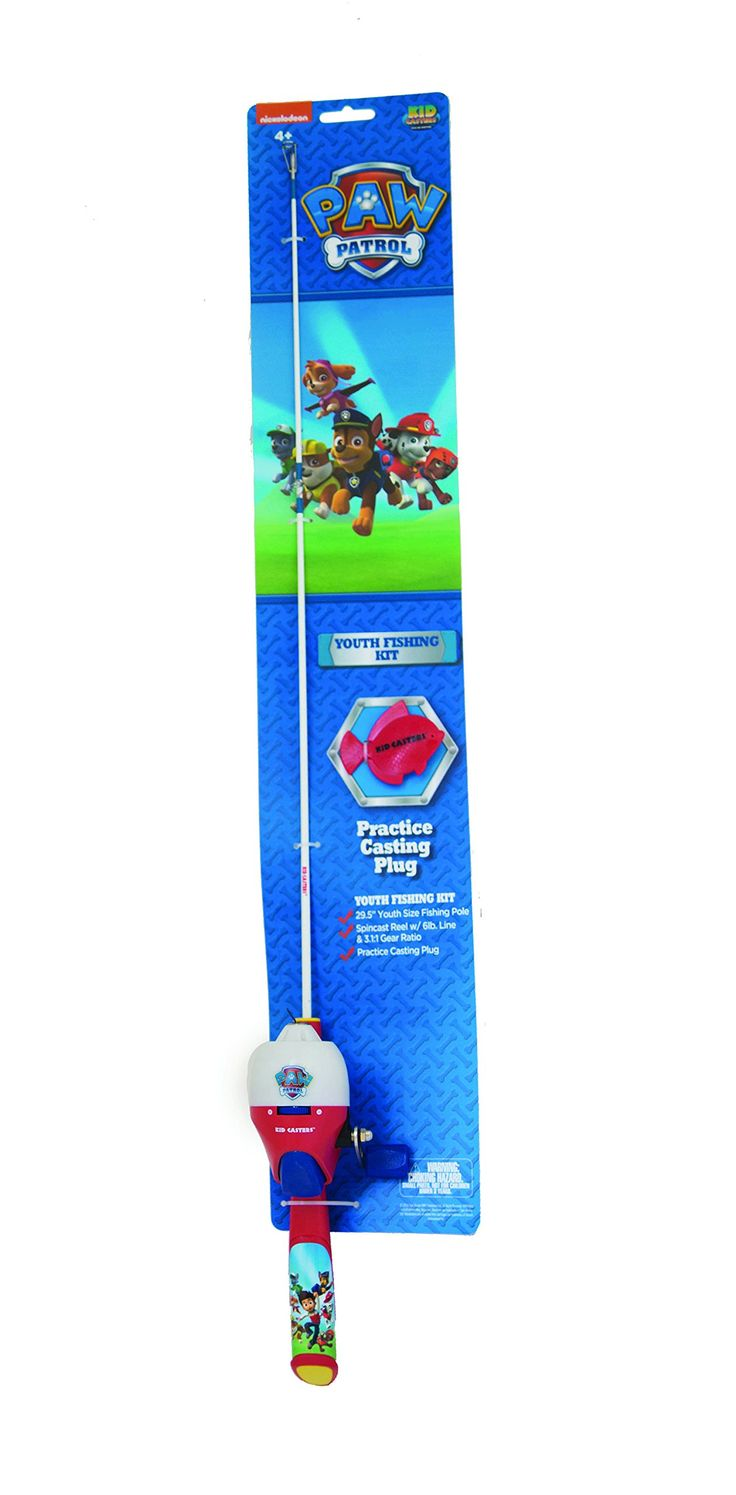 """Kid Casters Paw Patrol Fishing Kit. 29.5"""" medium action rod and reel combo. Reel with 3.1:1 gear ratio. 6 lb monofilament line. Comes with plastic casting Plug."""