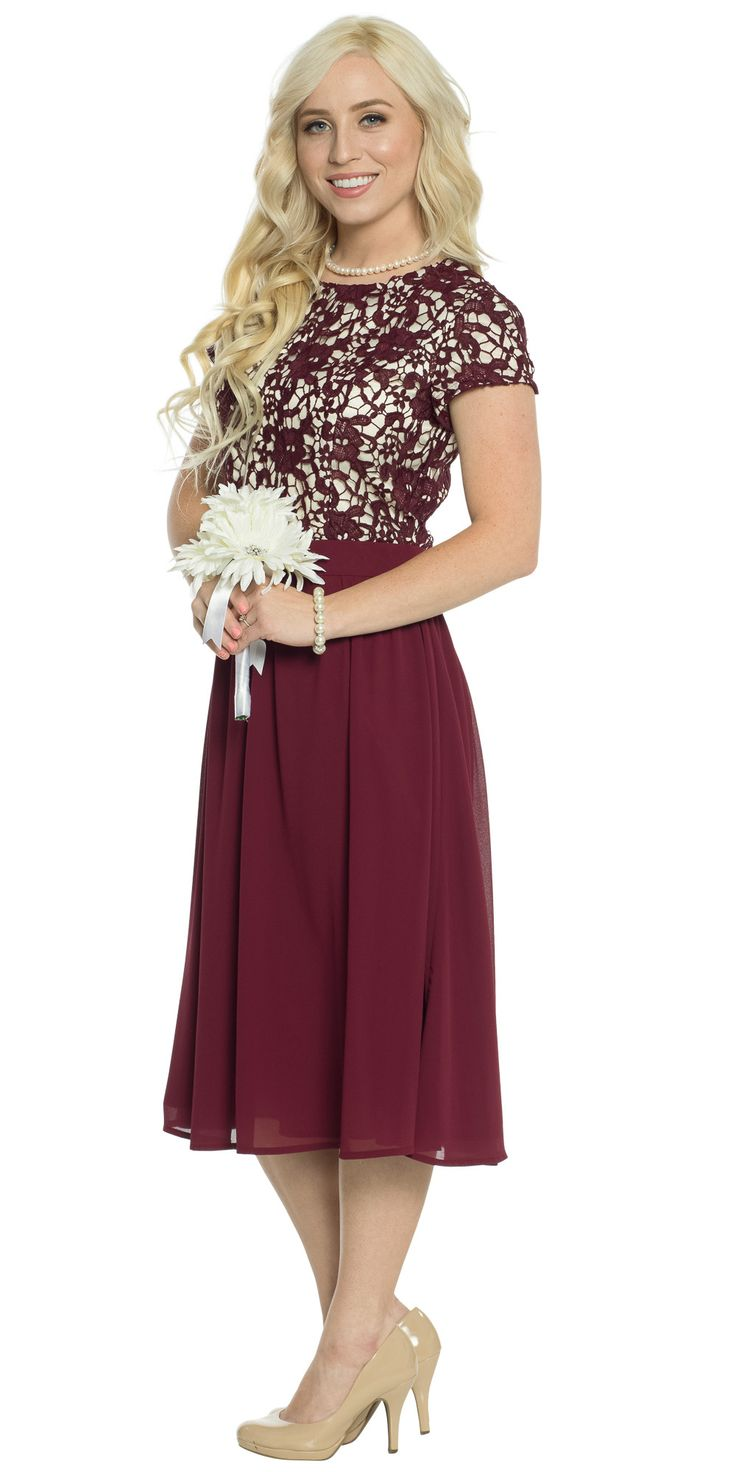 "A stunning semi-formal dress, this gorgeous lace & chiffon combo will have you looking for any excuse to wear it! Great choice for a Modest Bridesmaid Dress!   Jen Clothing's ""Olivia"" Semi-Formal Modest Dress in Burgundy Wine, $79.99"