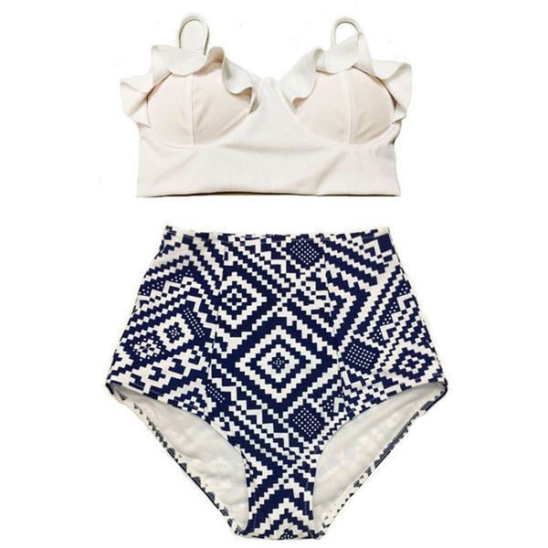 White Midkini Frilling Beach Bra Top and Graphic Print High Waisted Waist Bottom Swimsuit Bathing Su ($40) found on Polyvore featuring swimwear, bikinis, swimsuits, swim, bathing suit, black, women's clothing, black high waisted bikini, black swimsuit and high waisted bikini