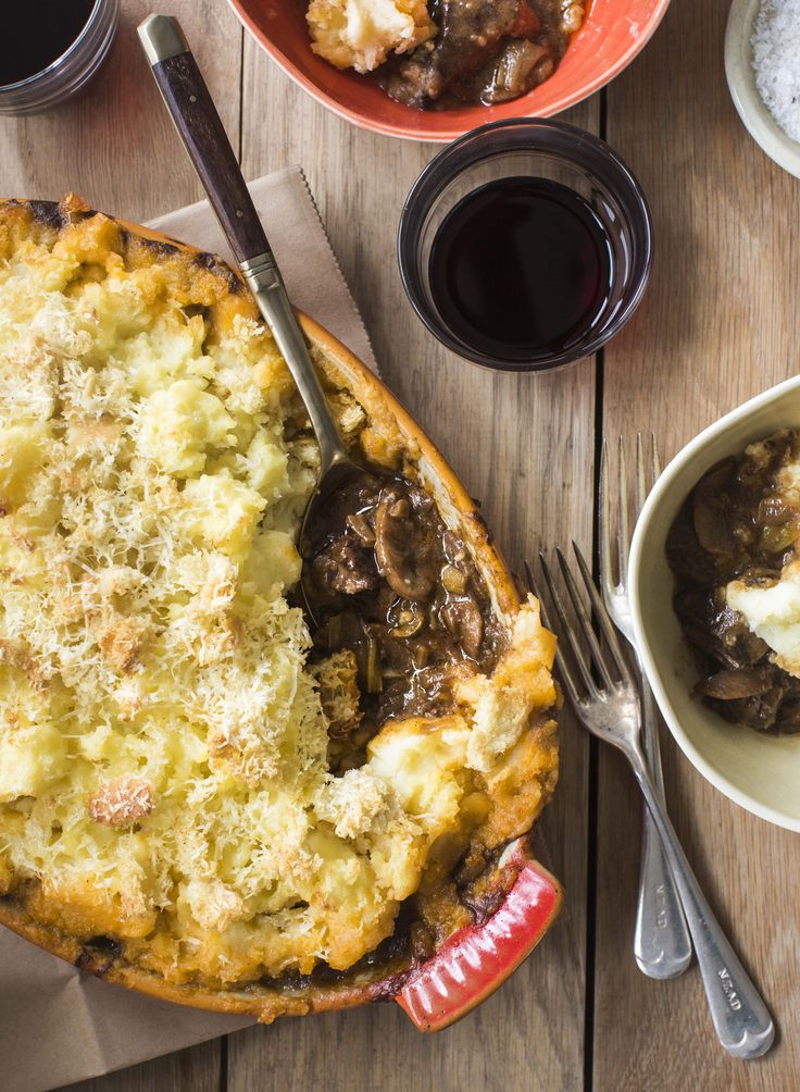 The most delicious slow-cooked beef & red wine filling, luscious herbs, mushroom, and a butter crunchy potato top. Another gem from Chelsea Winter!