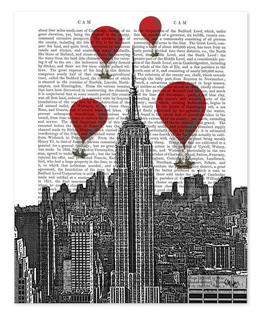 Look what I found on #zulily! Empire State Building & Red Hot Air Balloons Dictionary Print #zulilyfinds