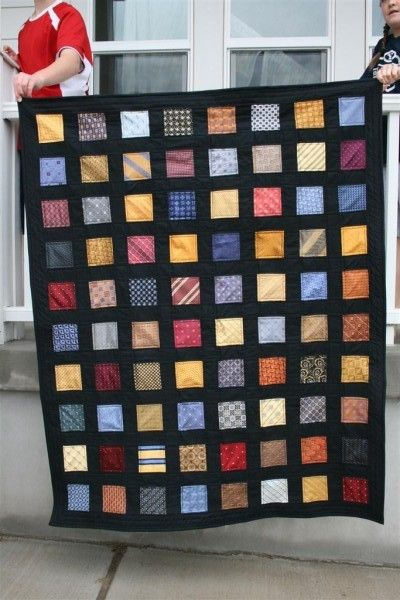 this is made from silk ties with black cotton sashing. from hopeful homemaker