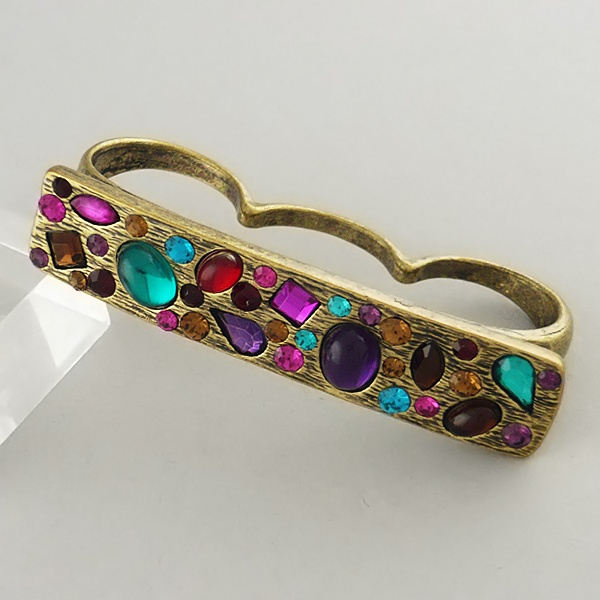 Bedazzled three finger ring