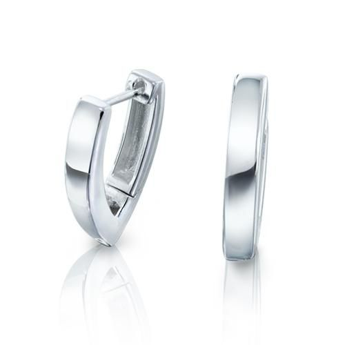925 Sterling Silver Modern V Huggie Hinged Earrings