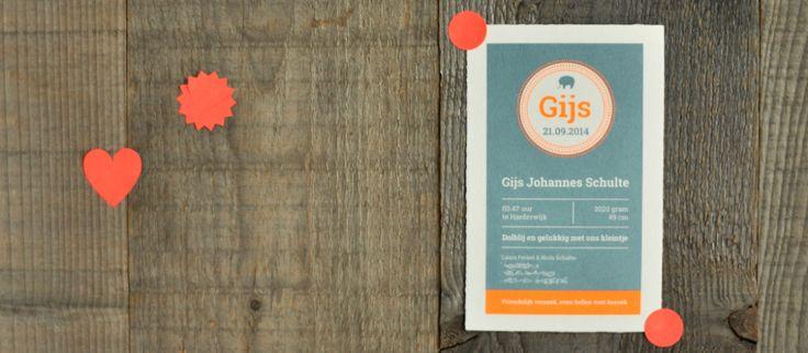Oud Hollands Geboortekaartje Gijs via speciale-geboortekaartjes.nl