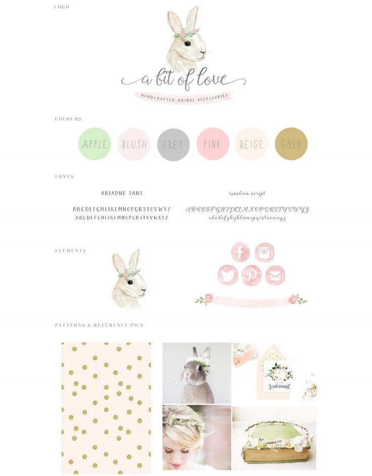 watercolor, bunny, rabbit, illustration, watercolour, pastel, logo, logo design, branding, peach, gold, animal, painting