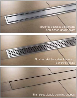 Schluter KERDI-LINE Linear Shower Floor Drain with Center Outlet and Frameless Tileable Grate Design. Install. at walls or intermediate locations. Slope. floor on single plane and incorporate. large-format tile. Choose. from two brushed stainless steel grate. designs for a modern look or tileable covering. support for virtually invisible drainage.