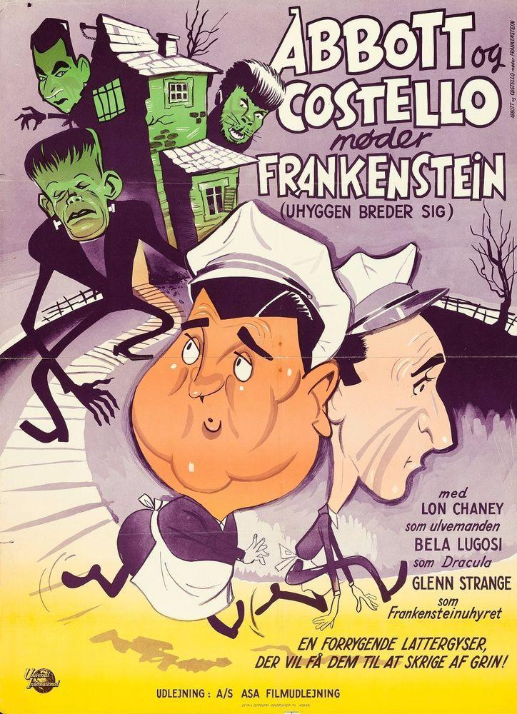 """Abbott and Costello Meet Frankenstein 1950 DANISH MOVIE POSTER 24.5"""" X 33.5"""""""