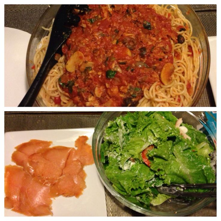 Homemade tomato sauce made from canned tomahtoes. Cooked with olives, basil, mushrooms and tuna.   Other dishes: Smoked Salmon basted with olive oil and some green salad
