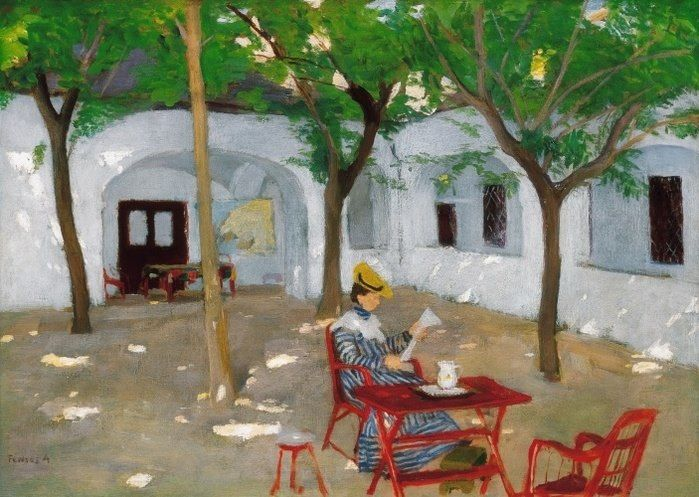 Adolf Fenyes (Hungarian, 1867-1945) Woman reading in courtyard