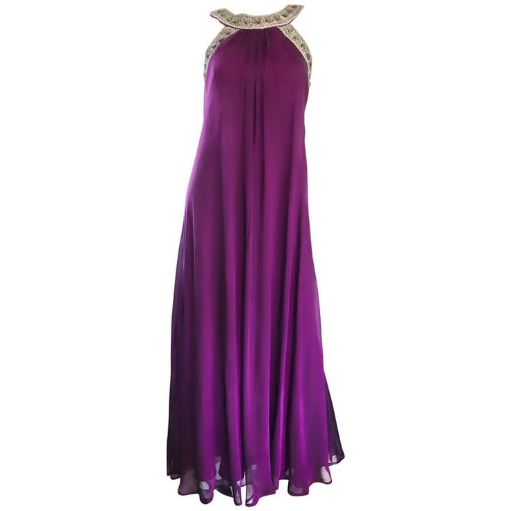 1990s Badgley Mischka Size 4 Purple Silk Chiffon Rhinestone Vintage Grecian Gown | From a collection of rare vintage evening-gowns at https://mario.1stdibs.com/fashion/clothing/evening-dresses/evening-gowns/
