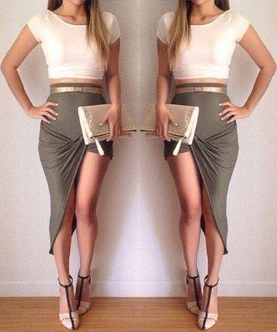 Stylish Scoop Collar Short Sleeve Crop Top + High-Waisted Asymmetrical Skirt Women's Twinset