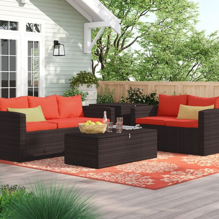 Best Arlington 4 Piece Rattan Sofa Seating Group With Cushions 400 x 300