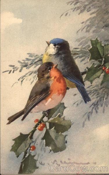 Robin and Blue Bird on Sprig of Holly C. Klein Birds