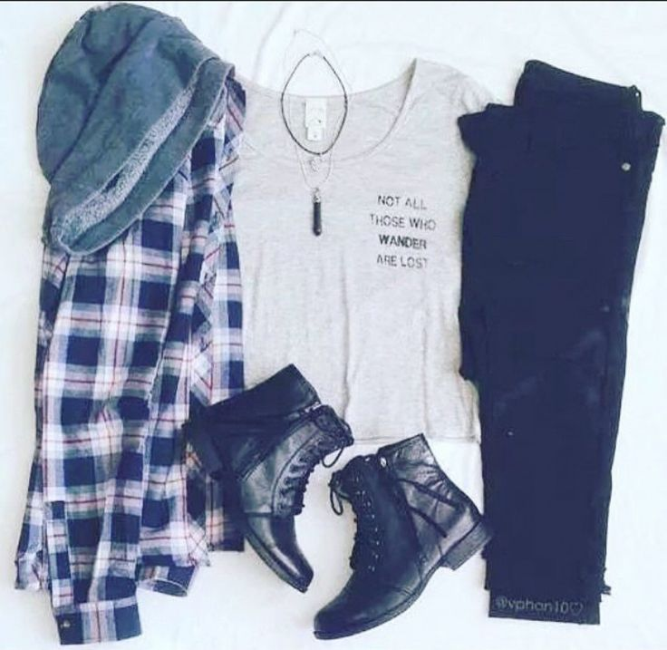 Grunge outfit idea nº6: Flannel shirt, boots, black jeans, light grey sleeveless undershirt, and black crystal necklace - http://ninjacosmico.com/23-awesome-grunge-outfits/