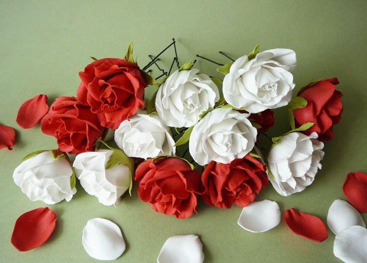 Розы на шпильке из фоамирана