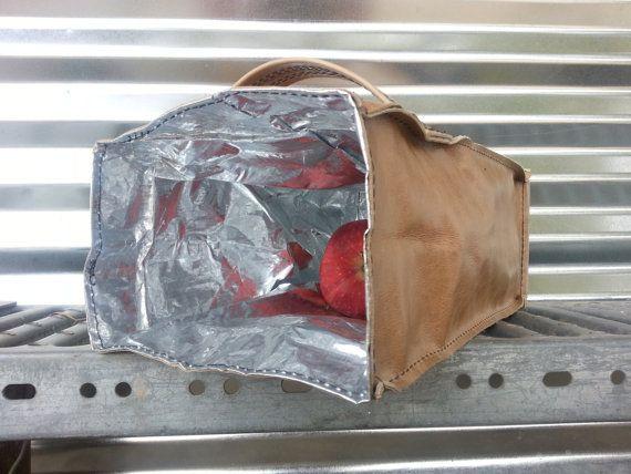 Cuir sac Déjeuner / Lunch Bag cuir sac en par MarbleHillStudio