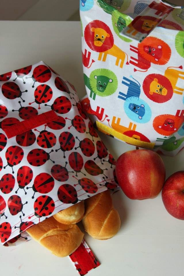Bag brekfast - handmade - laminated fabric:)