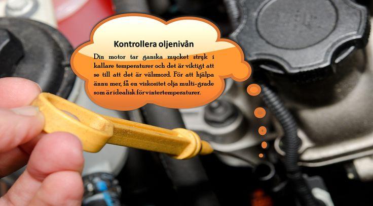 Kontrollera / byta olja  Kallt väder gör så oljan i bilen kör tjockare, och vissa tillverkare rekommenderar att du använder lägre viskositet olja för de kalla månaderna. Att få ett nytt oljebyte före vintern, och byta till tunnare viskositet olja, kommer att hjälpa din bil köra mer tillförlitligt i kylan. #bildäckverkstäder