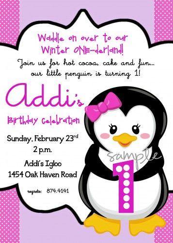 Penguin Winter Wonderland First Birthday Girl Printable Invitation   katiebellepaperie - Children's on ArtFire