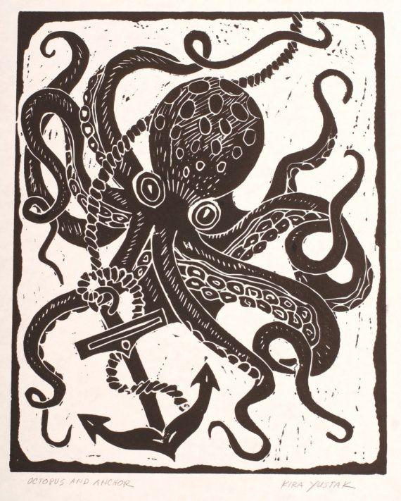 Octopus and Anchor - Block Print via Etsy