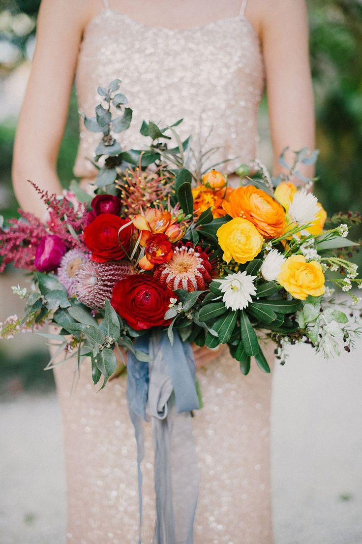 Bright rainbow wedding bouquet   Sophie Baker Photography