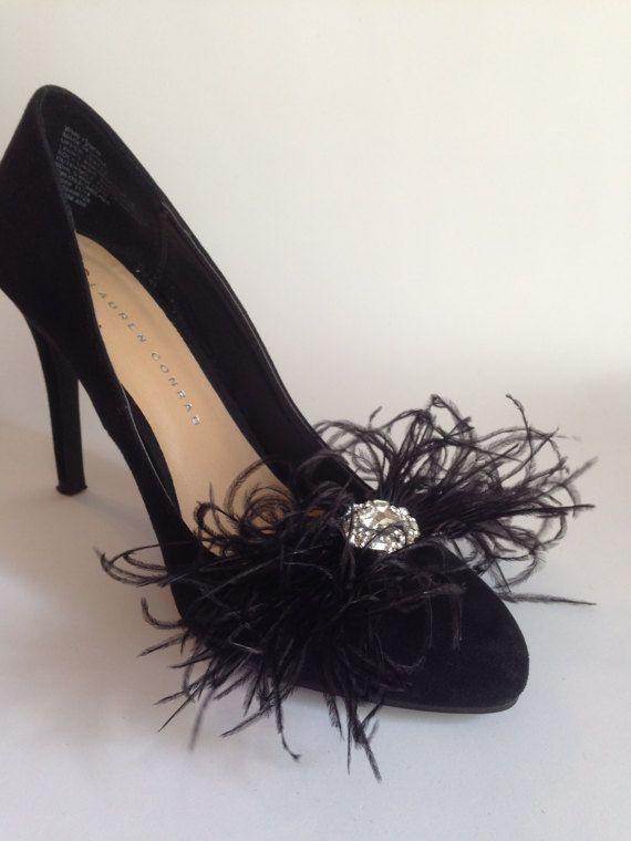 Black Ostrich Feathers Bows Shoe Clips