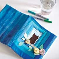 Free owl applique templates for a cute quilted binder cover