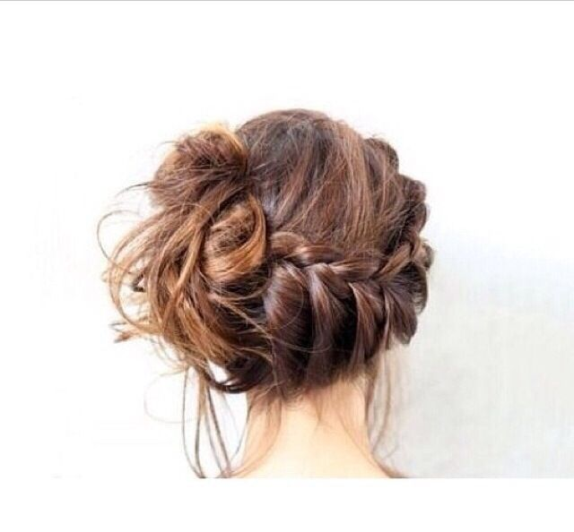 Super cute laid back braid into a side bun