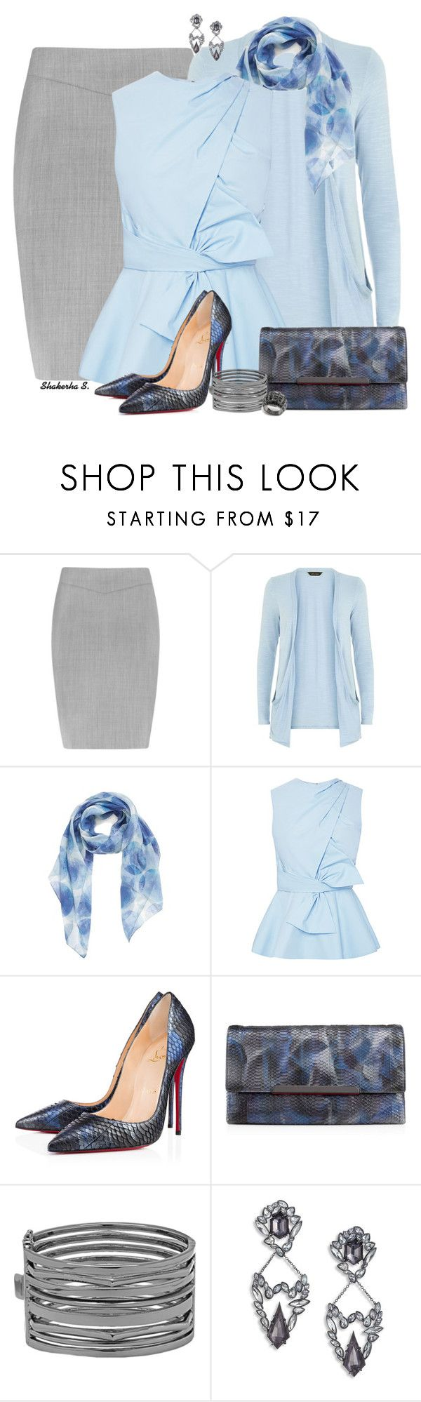"""Baby Blue"" by shakerhaallen ❤ liked on Polyvore featuring Reiss, Nordstrom, Prabal Gurung, Christian Louboutin, Nine West, Alexis Bittar and Coach"