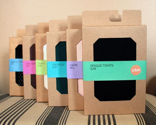 urban outfitters tights. packaging allows product to be hung or stacked on a table.