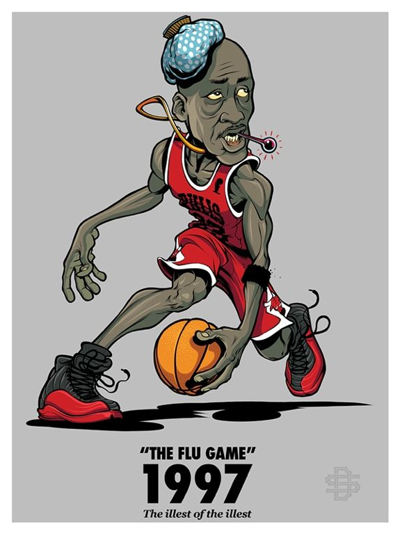 Artist Damasso Sanchez from San Diego, California captures the classic Michael Jordan flu game from 1997 to perfection.