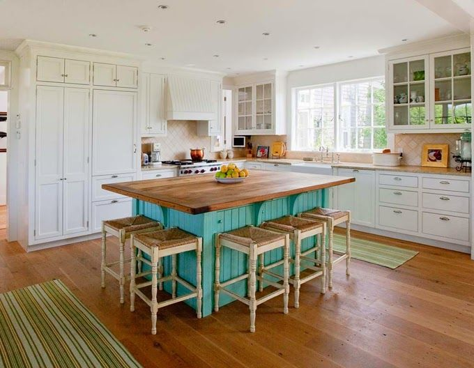 White Kitchen With Turquoise Island