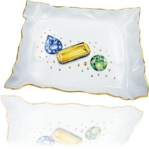 Idea regalo per lei:piccolo vassoio portagioie da camera decorato con effetto trompe l'oeil e con sfere dorate a rilievo.