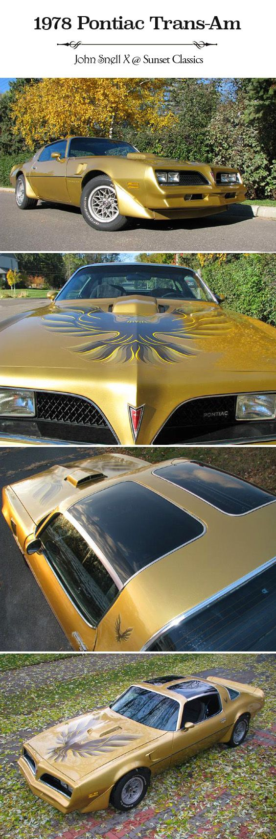 Very cool 1978 Pontiac Firebird Trans Am for sale from Sunset Classics. 1978 is the same year as the Smokey and the Bandit Trans Am made famous by Burt Reynolds