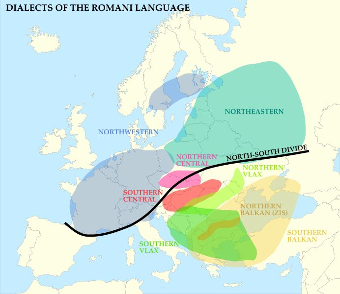 Dialects of the Romani language, File:Romany dialects Europe.svg