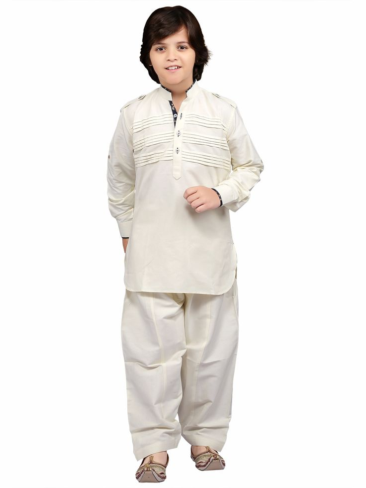 Cotton Solid Cream Festive Wear Pathani Suit