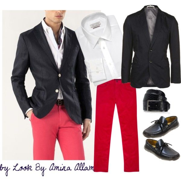 """Red pants for him"" by Look By Amina Allam"