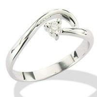 Anello Solitario in Oro Bianco con Diamanti