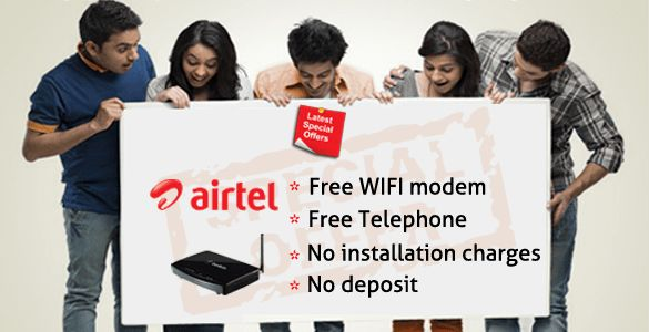 Airtel Broadband Chandigarh Mohali has come up with some new plans for the best broadband services, that the speed provided in by Airtel Broadband Connection will be minimum 2 mbps which can be increased up to 50 MBPS.