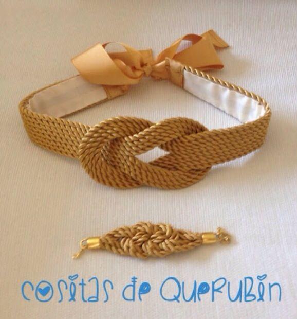 Bonito conjunto de cinturón y pulsera realizados en cordón de seda.