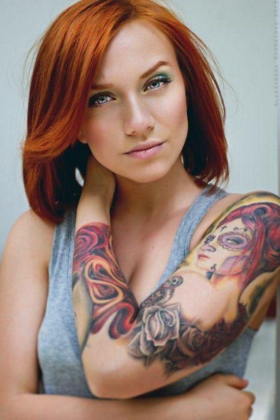Redhead milf tattoo