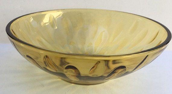 Vintage Amber Glass Thumbprint Bowl, 9 inch glass salad bowl, amber glass serving bowl, dinnerware amber glassware by designfrills on Etsy