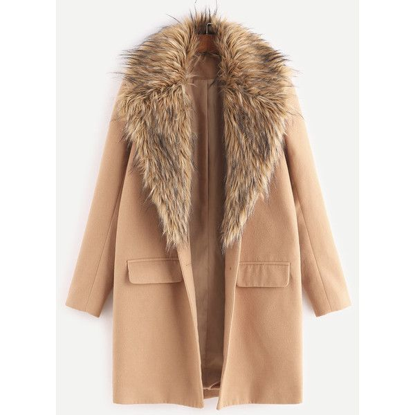 Camel Faux Fur Collar Single Breasted Coat ($52) ❤ liked on Polyvore featuring outerwear, coats, khaki, khaki coat, faux fur collar coat, beige coat, single-breasted trench coats and camel coat