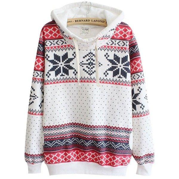 Chicnova Women Cute Hoodies with Pockets Christmas Jumper Sweater... (£11) ❤ liked on Polyvore featuring tops, hoodies, hooded pullover, pocket hoodie, sweatshirts hoodies, hooded sweatshirt and pullover hooded sweatshirt