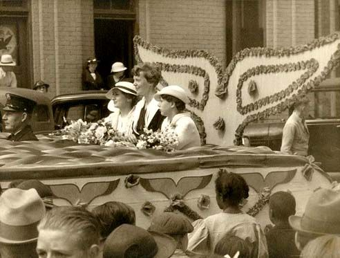 Amelia Earhart in Atchison, Kansas parade, 1935. A native of Atchison, Earhart spoke at Memorial Hall to a crowd of 3,500 people during her visit.
