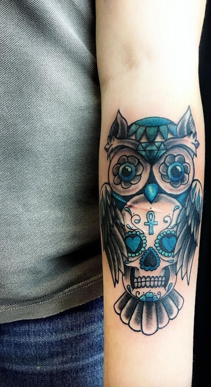 day of the dead owl tattoo © Tattoo Agent 108