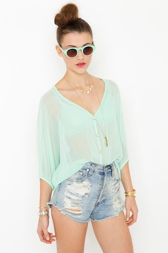 mint blouse: Chiffon Blouses, Flowy Tops, Green Color, Cute Tops, Like Glasses, Like Chiffon, Mint Tops, Blouses Color, Mint Blouses
